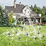 200'' Halloween Triangular Large Spider Web + 20 Black Spider + 200 sqft Stretch Cobweb for Halloween Decorations Clearance Outdoor Indoor Yard Scary Decor Home Party (Hook & Stakes Include)
