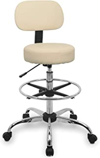 Rolling Stool Chair Height Adjustable Swivel with Back Cushion, Foot Rest and Wheels, Drafting Stool Esthetician Stool, Beige …