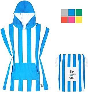 Dock & Bay Kids Poncho Microfibre Hooded Towel - Bondi Blue, Kids (4-7 Years) - Hooded Changing Robe Swim Poncho, Quick Dry & Compact