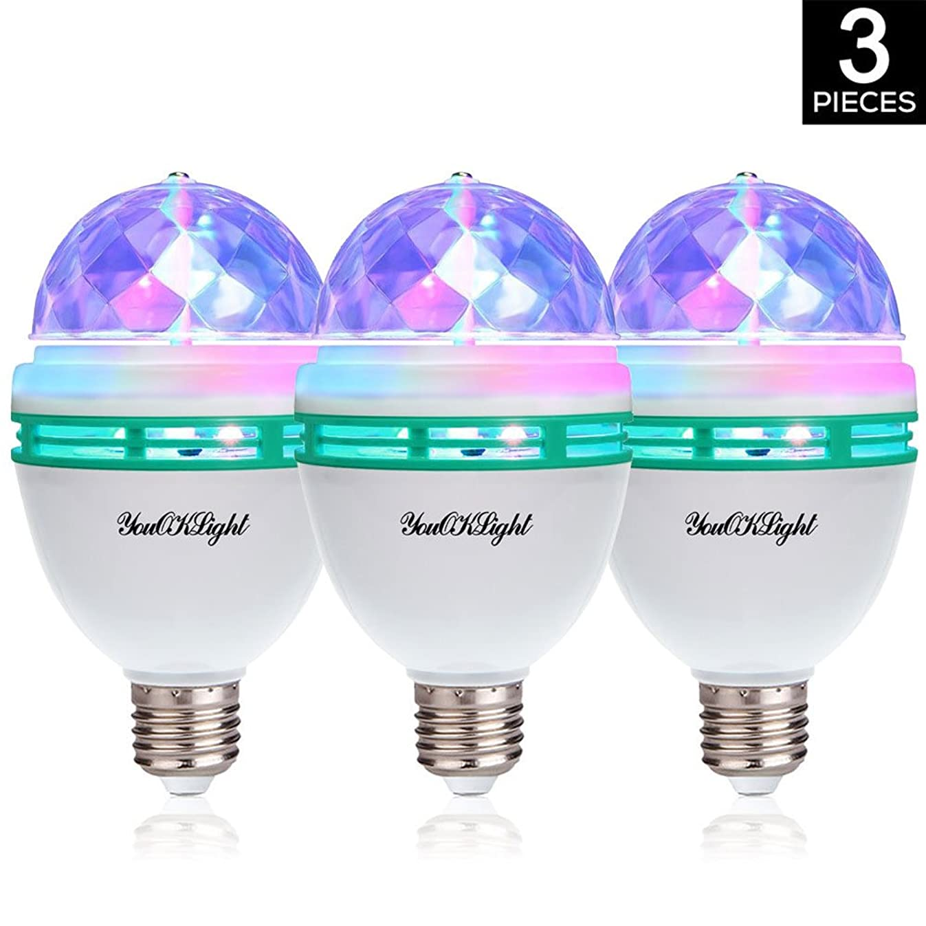 YouOKLight 3-Pack E26 Full Color Rotating Lamp LED Strobe Bulb Multi Crystal Stage Light for Disco Birthday Party Club Bar