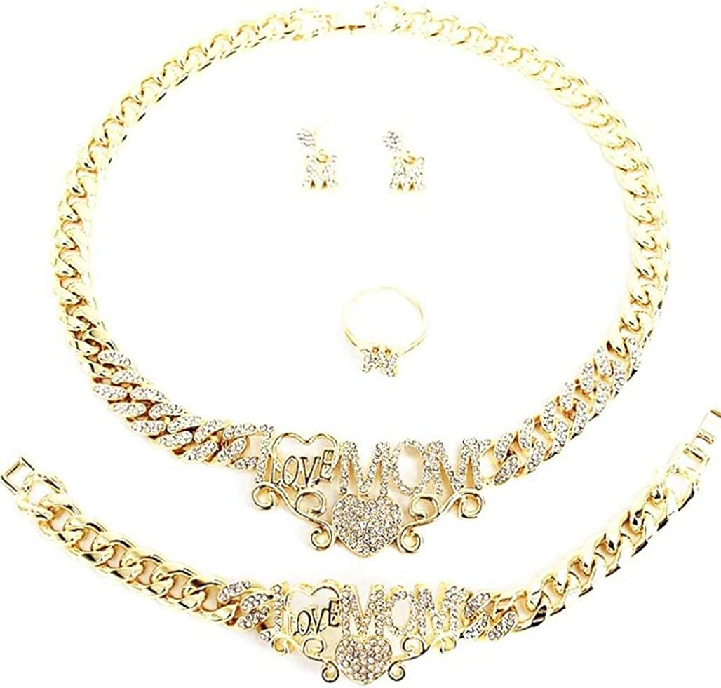 Women's Girls Hugs & Kisses XOXO Miami Cuban iced Cut 4 Pieces Necklace Set I Love Mom Charm Necklace Bracelet Earrings Ring Real Gold Plated