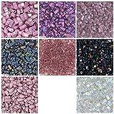 1/2 TILA 80 Grams Purple Mix, Miyuki Half Tila 2 Hole Bead Kit, 8 Colors of 10 Grams Each. Violet Metallic, Amethyst Transparent, Purple, Lilac Gold Luster, Rose Luster and More.