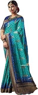 Blue Indian Woman Wedding Swarovski Pallu Saree Pure Soft Silk Bandhej Weaving Bridal Bandhani Sari Blouse 6246