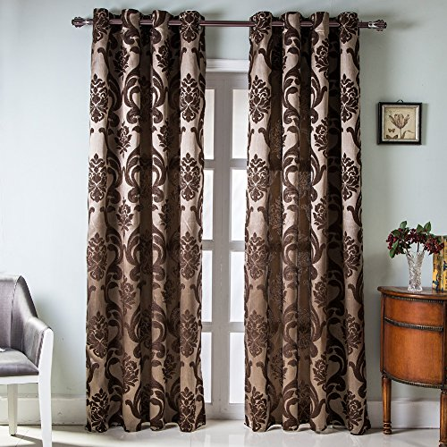 NAPEARL European Style Jacquard Curtains for Living Room, Luxurious Room Darkening Curtains 84 Inches Long, Grommet Thermal Curtains Drapes, Set of 2 Panels, ( Each 52 x 84 in, Brown )