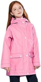 Kids Rain Jacket Hooded Lined Rubber Raincoat for Boys/Girls Waterproof Windproof Size 3-14Y