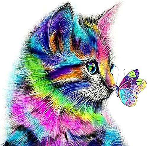 Fuumuui Lienzo de Bricolaje Regalo de Pintura al óleo para Adultos niños Pintura por número Kits Decoraciones para el hogar -Gato y Mariposa 16 * 20 Pulgadas