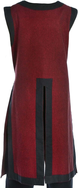 HEMAD Kinder- Mittelalter Waffenrock - Baumwolle Leinenoptik - Mittelalterliche Kleidung Rot-schwarz
