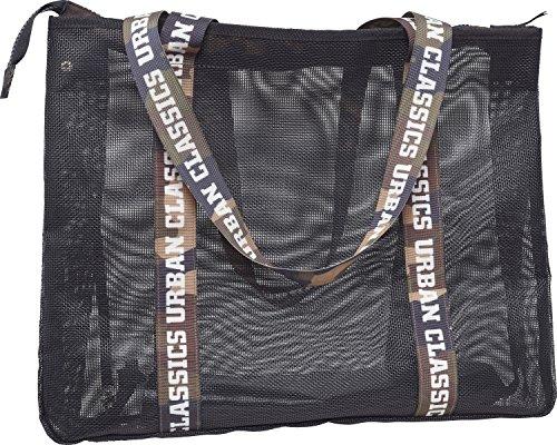 Urban Classics Big Mesh Shopper with Bag In Umhängetasche, 48 cm, Black