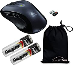 Logitech M510 Wireless Mouse with A Ultra Soft Travelers Pouch, Bundle Includes M510 Wireless Mouse + 2 Energizer AA Batteries + Quality Photo Travel Pouch.