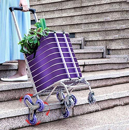 WYZXR Klappbarer Einkaufswagen Trolley Bag Tragbarer Lebensmittelhändler Leichter Treppenkletterwagen mit 8 Rädern und Abnehmbarer wasserdichter Leinwand Abnehmbarer Beutel A/A.