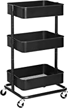 SONGMICS 3-Tier Metal Rolling Cart, Utility Cart, Kitchen Cart with Adjustable Shelves, Storage Trolley with 2 Brakes, Easy Assembly, for Kitchen, Bathroom, Black UBSC60B