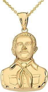 Solid 14k Gold Jesus Malverde Sinaloa Narco Saint Pendant Necklace
