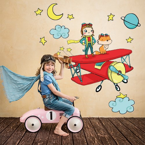 kina R00310 Pegatina de Pared para niños - El Principito en el Plano 02 - Medidas 120x30 cm - Decoración de Pared, Pegatinas de Pared, Papel Pintado