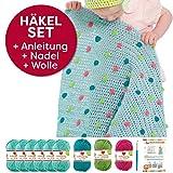 myboshi Häkel-Set Babydecke Pünktchen | aus No.2 | Anleitung + Wolle | mit Häkelnadel | Baby-Decken-Häkel-Set | Meerblau Limettengrün Magenta Türkis