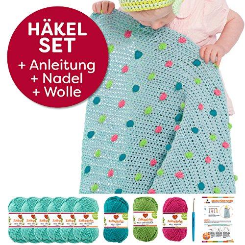 myboshi Häkel-Set Babydecke Pünktchen   aus No.2   Anleitung + Wolle   mit Häkelnadel   Baby-Decken-Häkel-Set   Meerblau Limettengrün Magenta Türkis
