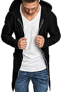 IFOUNDYOU Men Coats Men Splicing Hooded Solid Trench Coat Jacket Cardigan Long Sleeve Outwear Blouse Simple Design Long Sl...