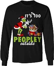 Flagtee It's Too Peopley Outside Grinch & Dog Christmas Long Sleeve Tshirt