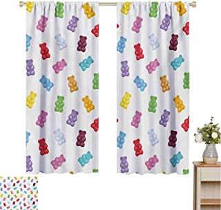 Mozenou Kids, Window Curtain Fabric, Vibrant Colored Gummy Bears Candies Delicious Jelly Sugary Snack Chewy Sweet Taste, Drapes for Living Room Multicolor