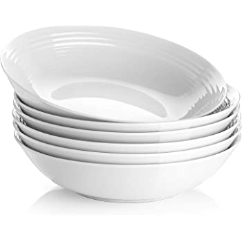Y YHY 26 Ounces Porcelain Pasta Salad Bowls, White Soup Bowl Set, Wide and Shallow, Set of 6, Spiral Pattern