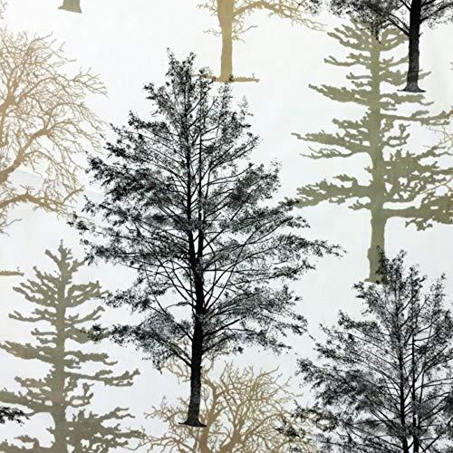 Pingianer 100x160cm 100% Baumwolle Baumwollstoff Streifen Blumen Meterware Handwerken Nähen Stoff (Baum Wald Bäume Groß)