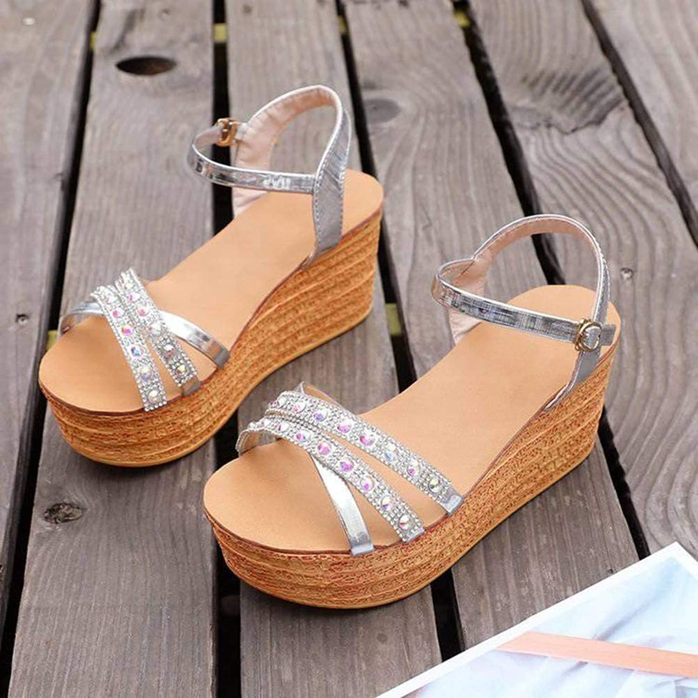 Women's Ladies Casual Lightweight Sandal shoes Slim Buckle High Heel Summer Beach Open Toe Platform shoes Pu Platform Heels Thick Heel Sandal Flip Flops for Women, LX