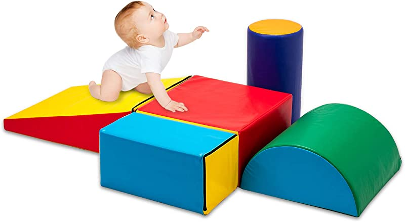 Matladin Indoor Safe Soft Foam Climber 5 Piece Sets Beginner Toddler Climber With Slide Ramp Indoor Climbing Toys For Toddlers Kids And Children