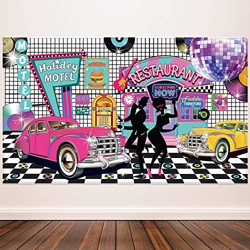 50's Theme Party Decorations Rock and Roll Party Backdrop Party Banner Classic 50s Backdrop Banner for 1950's Party Decorations, 72.8 x 43.3 Inch