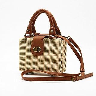 GSERA Rattan Frauentasche Stroh Strandtaschen Handgefertigte Gewebte Weibliche Handtasche Bohemia Shoulder Messenger Bag D...