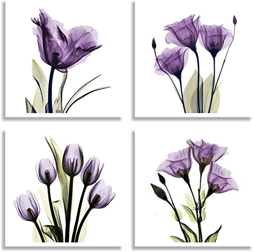 HLJ ART 4 Panel Elegant Tulip Purple Flower Canvas Print Wall Art Painting for Living Room Decor and Modern Home Deco...