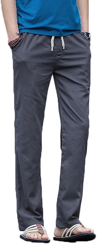 transpirable cord/ón de ajuste Elonglin cintura el/ástica con bolsillos Pantal/ón de lino para hombre
