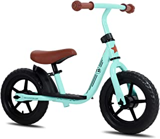 JOYSTAR 10/12 Inch Kids Balance Bike with Footrest for 1-5 Years Girls & Boys, Push Bike for Toddler with EVA Polymer Foam Tire, (Blue, Green, Pink, Red)