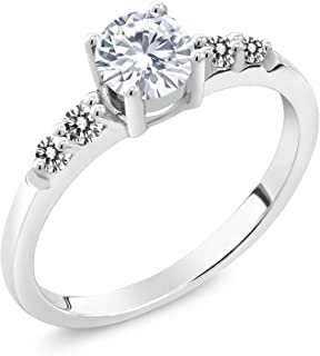 Gem Stone King 925 Sterling Silver Engagement Ring Forever Brilliant Round Created Moissanite and Diamond (Available 5,6,7,8,9)