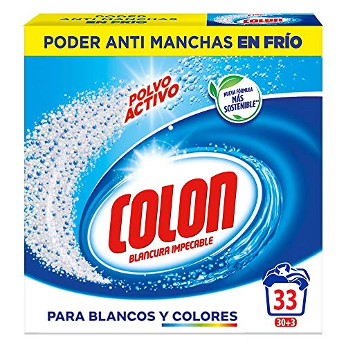 Colon Polvo Activo - Detergente para lavadora, adecuado para ropa blanca y de color, formato polvo - 33 dosis