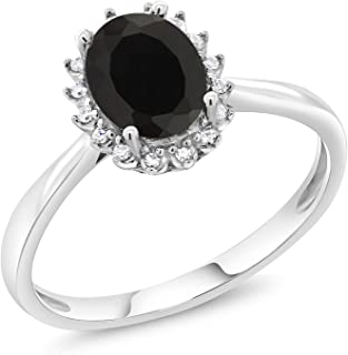 10K White Gold Oval Black Onyx & Diamond Women's Engagement Ring 1.25 cttw (Available 5,6,7,8,9)