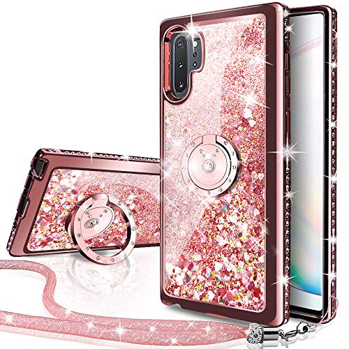 Galaxy Note 10 Plus Case, Silverback Moving Liquid Holographic Sparkle Glitter Case with Kickstand, Bling Diamond Bumper W/Ring Slim Samsung Galaxy Note 10 Plus Case for Girls Women -Rose Gold W