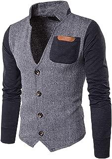 Men's Herringbone Slim Fit Patchwork Button Jacket Sweatshirt Varsity