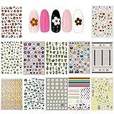 Ebanku 12 Fogli Adesivi Unghie Nail Art Stickers Floreali per Bambina, Adesivi per Unghie Decalcomania Trasferimento Nail Art Decorazioni Unghie