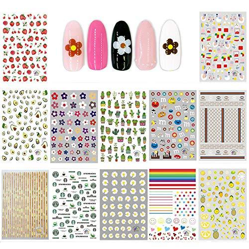 Ebanku 12 vellen zomer nail art stickers stickers voor meisjes, 3D zelfklevende nagelstickers bloemvruchten plant regenboog stickers decoratie voor kleine meisjes kinderen vrouwen
