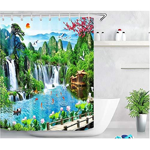 Patrón de Paisaje Verde Moda Resistente a la Suciedad Accesorios de Ducha de fácil Cuidado Cortina de baño Multifuncional-El 150x180cm Accesorio de baño Moderno para la Ducha