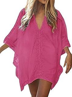 f87e53e8da Walant Robe de Plage pour Femmes V-Cou Bikini Cache-Maillots Taille Unique  Coton