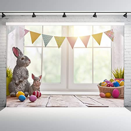 10x6.5ft Polyester Backdrop Painted Eggs Photography Background Basket Easter Eggs Coloful Vintage Wood Background Wall Board Happy Festive Photo Shoot Background Children Photo Portrait