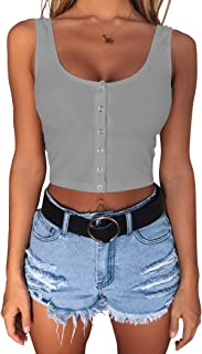 Minthunter Women's Casual Sleeveless Button-Down Shirts Basic Camisole Crop Tank Tops
