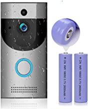 WiFi Video Doorbell with LED Ring HD Battery or AC Power PIR Detection Two-Way Audio Talk Notification/Alert on Phone Motion Detect Recording on SD Card or Cloud