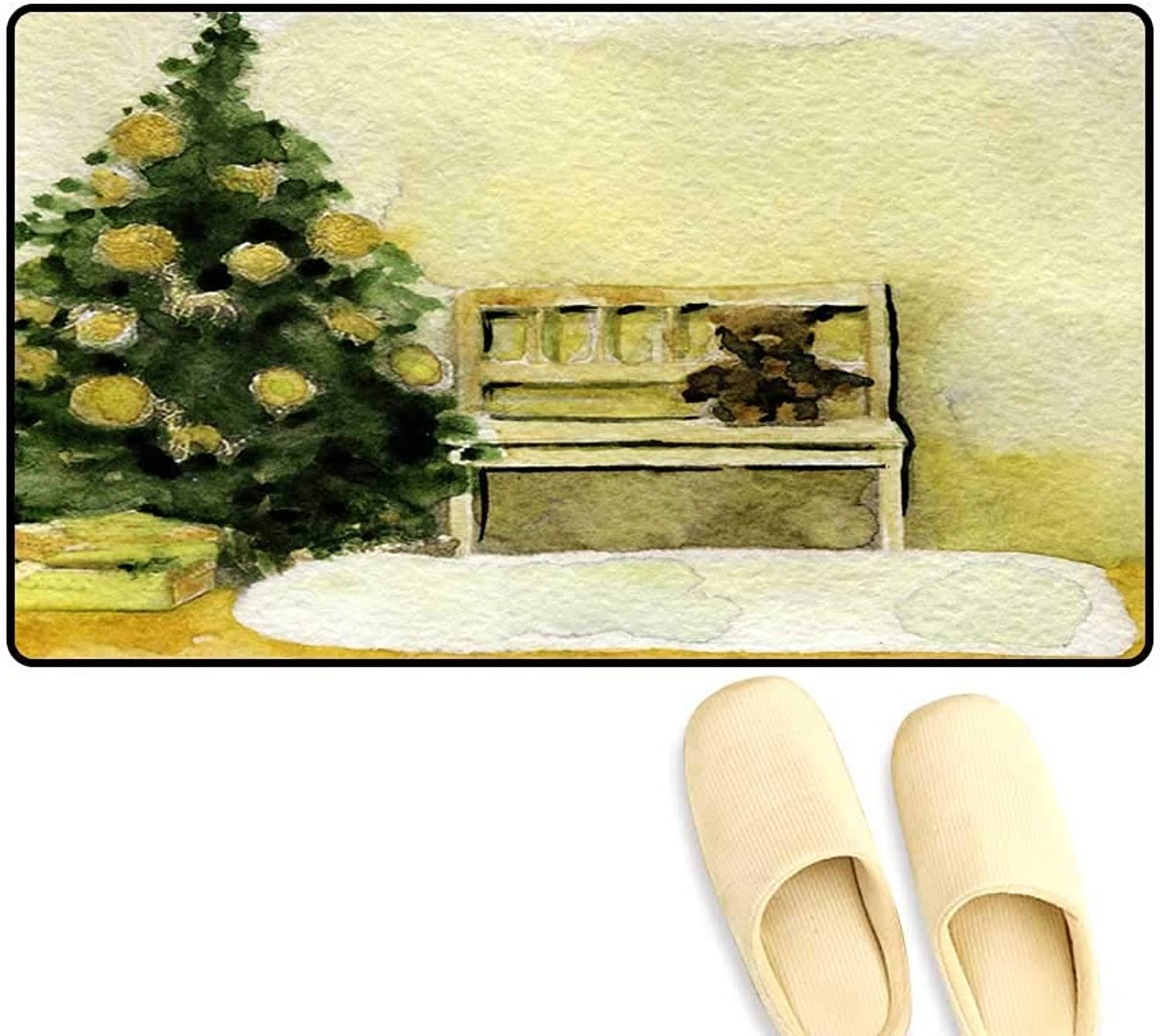 Antiskid Doormat Watercolor Sketch of Stylish Christmas Interior Decorate wi Tree an Bear