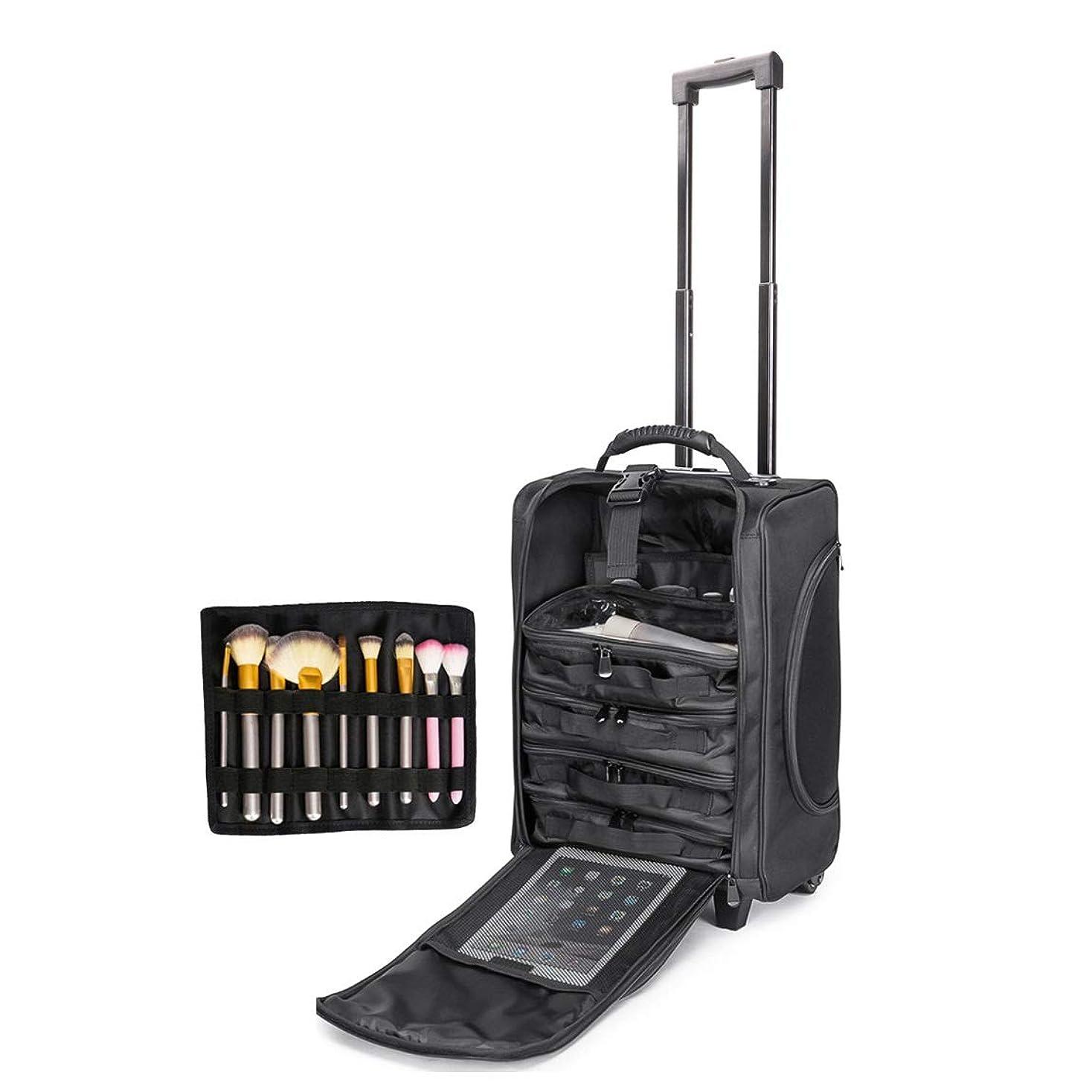 局賞賛するインタネットを見るLUVODI メイクボックス 大容量 メイクキャリーケース 小型 旅行 プロ コスメポーチ6個/ブラシ入れ付き 化粧箱 持ち運び 機内持ち込み ブラック
