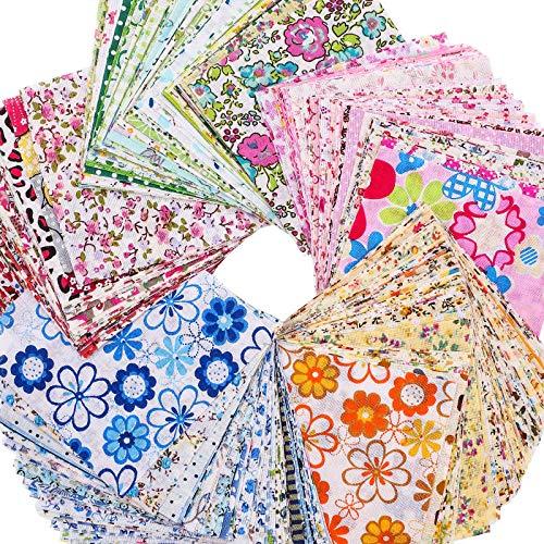 250 Piezas de Tela Artesanal de Algoidón Paquete de Cuadrados Acolchado Retazos Tela de Algodón Estampado Floral de 4 x 4 Pulgadas para Proyectos de Álbum de Recortes de Costura y Acolchado DIY