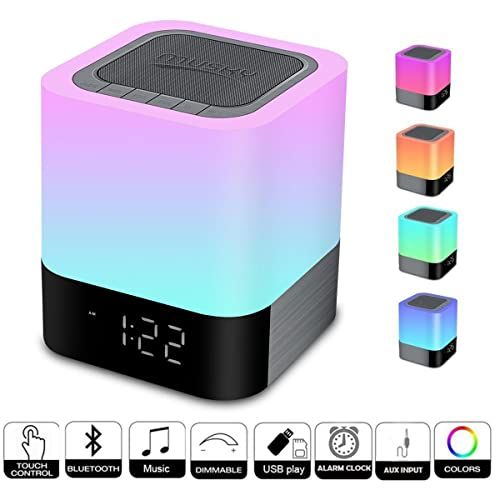 MUSKY Wireless Bluetooth Speaker with Touch Control Bedside Lamp,Alarm Clock,MP3 Player,Portable Smart Touch Sensor Table Lamp Dimmable RGB Multi-Color Changing LED Night Light, All in 1