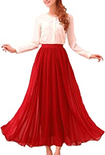 Womens Chiffon Retro Long Maxi Skirt Vintage Dress