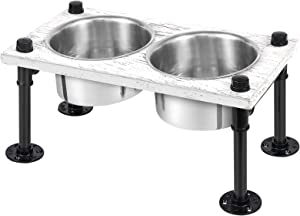 Elevated Dog Bowl for Large Dogs, Industrial Raised Dog Bowls, Rustic Wood Stand Feeder with 2 Removable Stainless Steel Bowls Food Water