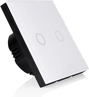 Gosear Interruptor de Pantalla tactil Interruptor de luz de Pared de Pantalla tactil de Vidrio 1 Via Individual Interruptor Blanco